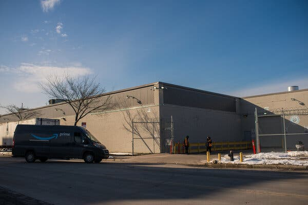 An Amazon warehouse in Hunts Point in the Bronx. The giant retailer is creating a warehouse empire in the region, with at least 12 warehouses in the city and at least 14 in the suburbs.