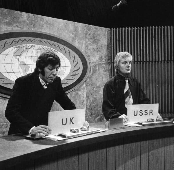 Mr. Hendra, right, performing on television with Nick Ullett. The two maintained a comedy partnership throughout the 1960s.