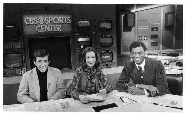 """Mr. Cross in 1976 with his """"NFL Today"""" colleagues Brent Musburger and Phyllis George."""